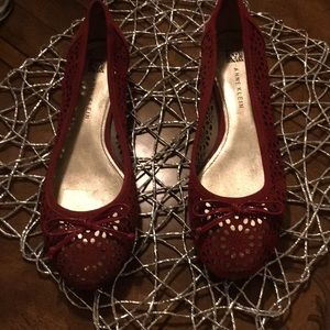 Red leather trim suede shoes